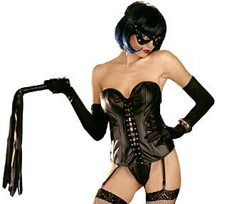 a hot dominatrix dressed in black lingerie
